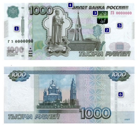 1000 рублей - билет ЦБ
