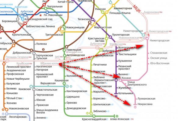 люблино метро схема на карте
