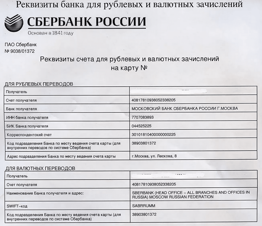 Бик сбербанк москва реквизиты 2020 год